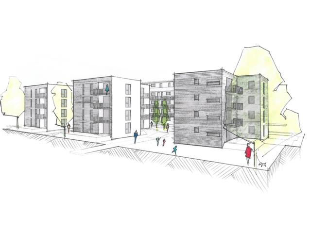 Mehrfachbeauftragung Wohnen in der Pfinzstraße Durlach Perspektive