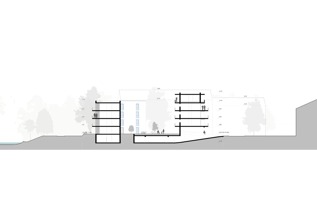 Mehrfachbeauftragung Wohnen in der Pfinzstraße Durlach Schnitt