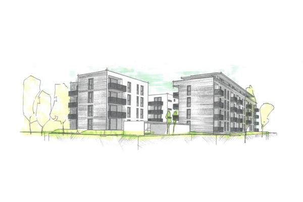 Mehrfachbeauftragung Wohnen in der Pfinzstraße Durlach Perspektive 1