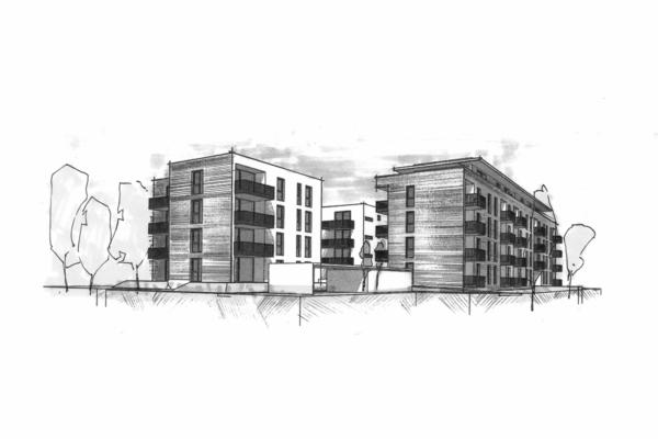 Mehrfachbeauftragung Wohnen in der Pfinzstraße Durlach Perspektive 2 sw