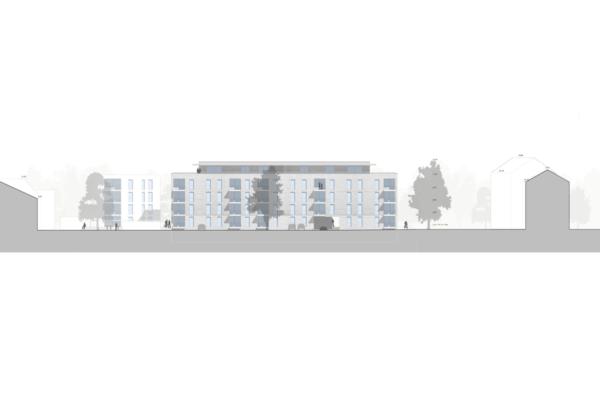 Mehrfachbeauftragung Wohnen in der Pfinzstraße Durlach Ansicht Süd Zeile