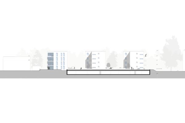Mehrfachbeauftragung Wohnen in der Pfinzstraße Durlach Ansicht Süd Punkt