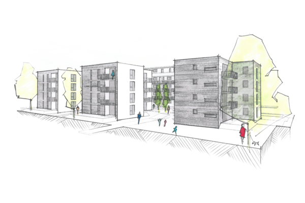 Mehrfachbeauftragung Wohnen in der Pfinzstraße Durlach Perspektive 2