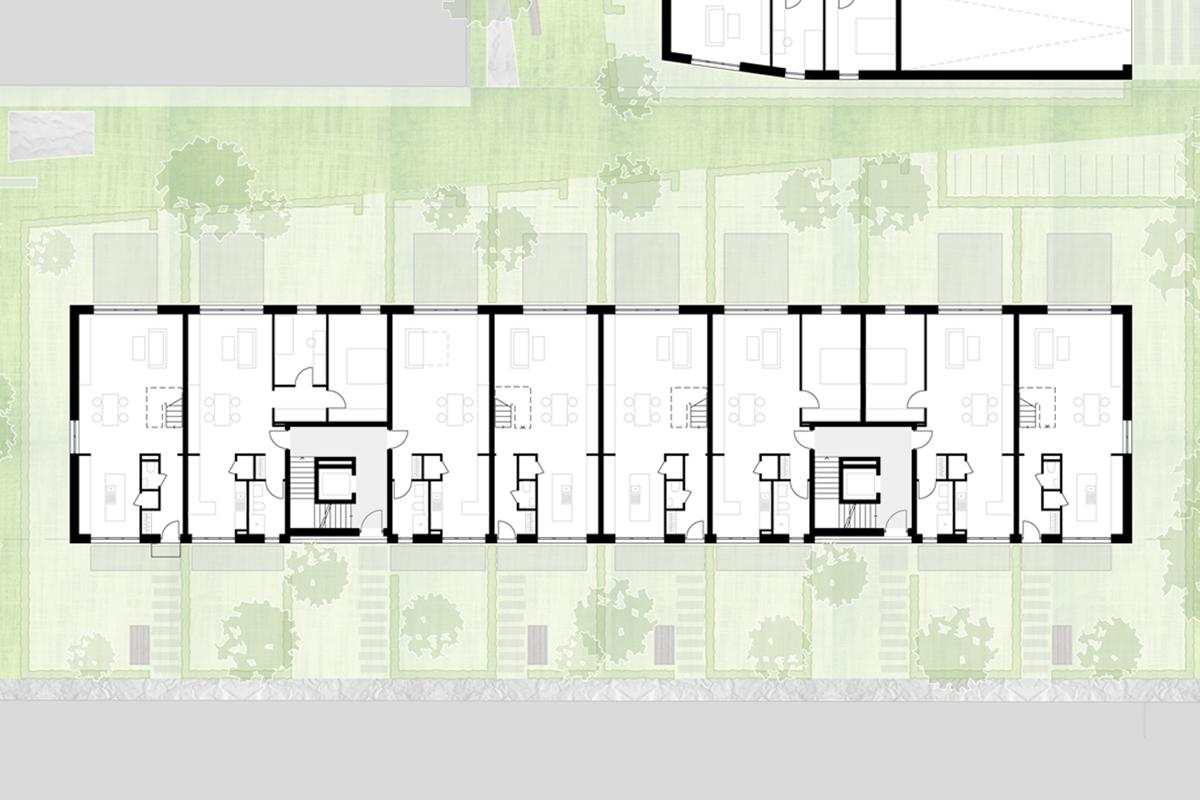 Neubau von Wohnungen als Zeile/Punkt in Landau Zeile EG