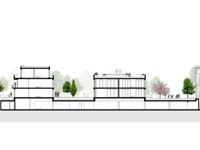 Neubau von Wohnungen als Zeile/Punkt in Landau Schnitt Zeile: Punkt