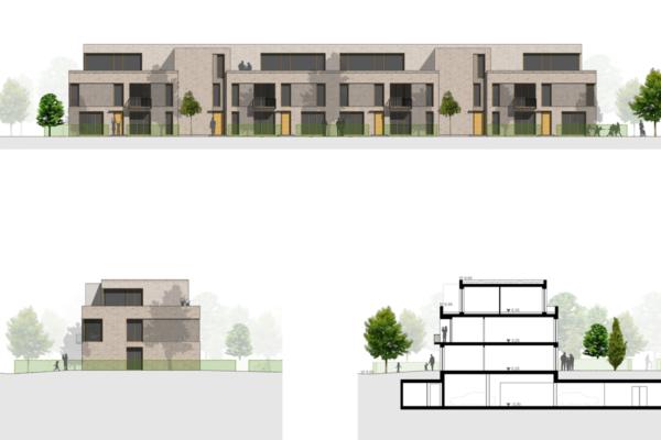 Neubau von Wohnungen als Zeile/Punkt in Landau Ansichten+Schnitt